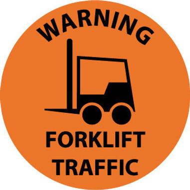 FLOOR SIGN, WALK ON, WARNING FORKLIFT TRAFFIC, 17 DIA, PS VINYL
