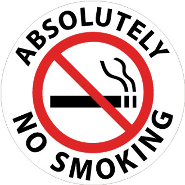 """FLOOR SIGN, WALK ON, ABSOLUTELY NO SMOKING, 17"""" DIA"""