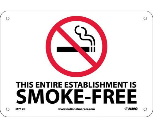 (Graphic) This Entire Establishment Is Smoke-Free Minnesota Stature 144.411-144.417 7X10 Rigid Plastic