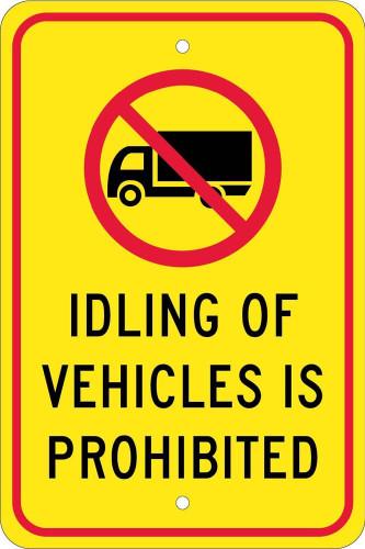 (Graphic) Idling Of Vehicles Is Prohibited 18 X 12 .080 Egp Alum