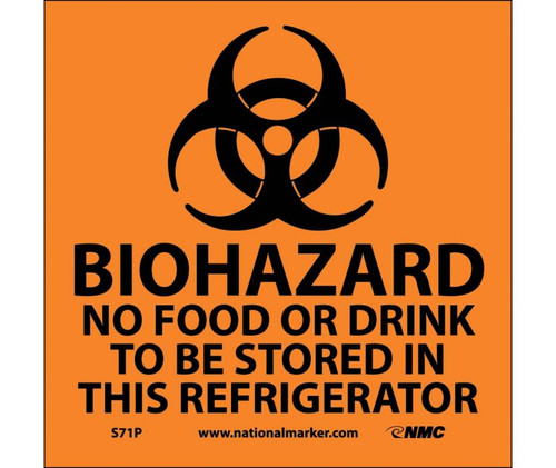 Biohazard No Food Or Drink To Be Stored.. (W/Graphic) 7X7 Ps Vinyl