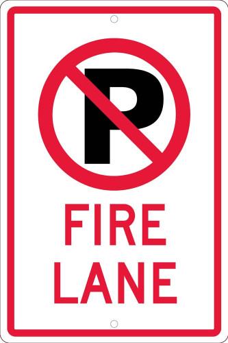 (No Parking Graphic)Fire Lane 18X12 .063 Alum Sign