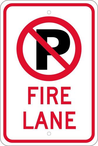 (No Parking Graphic)Fire Lane 18X12  .080 Hip Ref Alum Sign