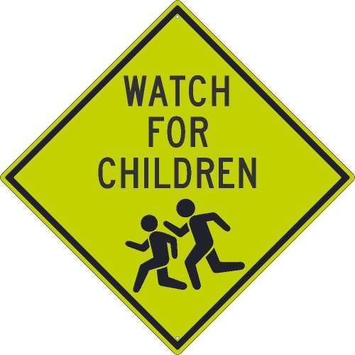 (Graphic Children Crossing) Sign 30X30 .080 Dg Ref Alum