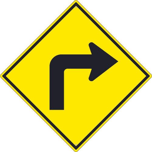 (Left Turn Arrow Graphic) Sign 30X30 .080 Hip Ref Alum