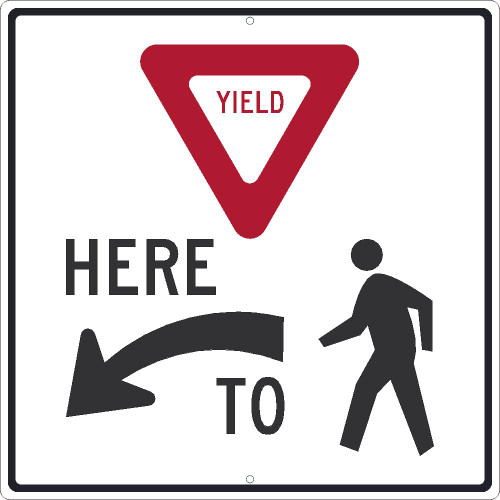 (Graphic Yield) Here (Arrow Symbol) To (Graphic Pedestrian) 24X24 .080 Egp Ref Alum