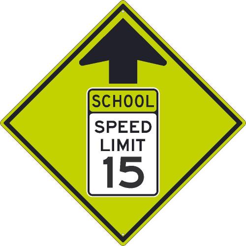 (Graphic School Speed Limit Sign With Arrow) 30X30 .080 Dg Ref Alum