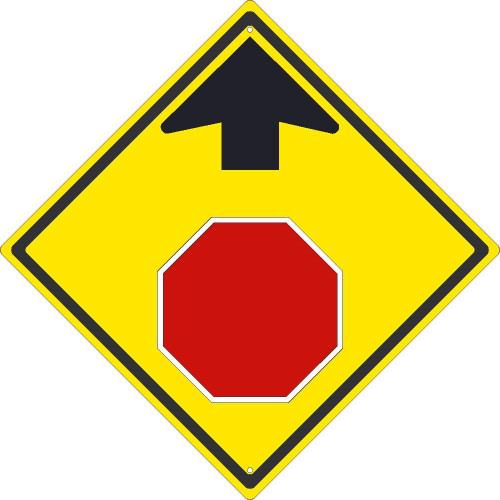(Graphic Stop Sign Ahead) 24X24,.080 Hip Ref Alum