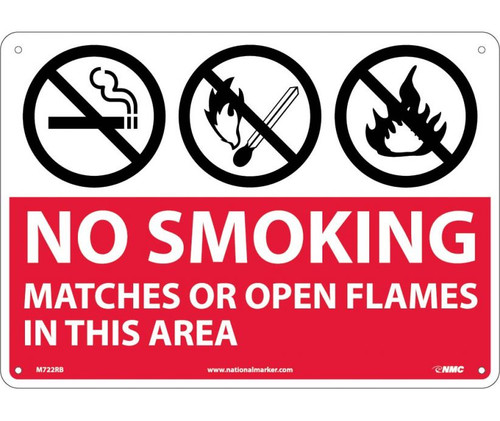 (Graphics) No Smoking Matches Or Open Flames In This Area 10X14 Rigid Plastic