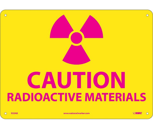 (Graphic) Caution Radioactive Materials 10X14 .040 Alum