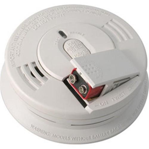 Kidde Interconnectable AC/DC Smoke Alarm w/ Battery Backup, Front-Loading Battery Door, Smart Hush, Silent Hush, & Alarm Memory (Ionization) - 1276
