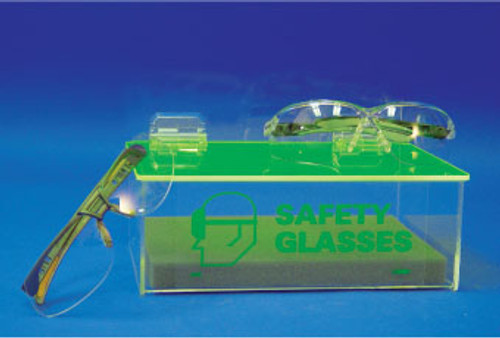 ACRYLIC DISPENSER, COMPACT SAFETY GLASSES, WITHOUT COVER