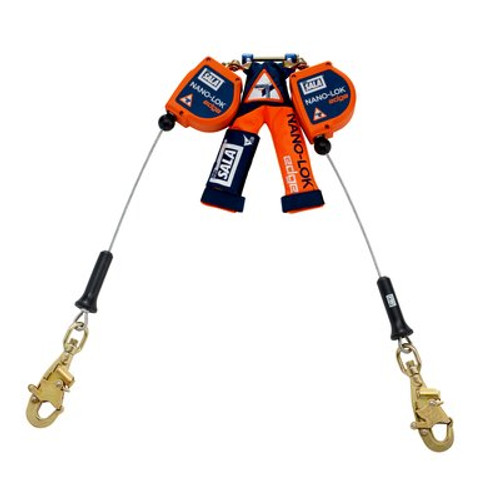 3M DBI-SALA  Nano-Lok edge Twin-Leg Quick Connect Self Retracting Lifeline 3500226, Orange, 8 ft. (2.4 m)