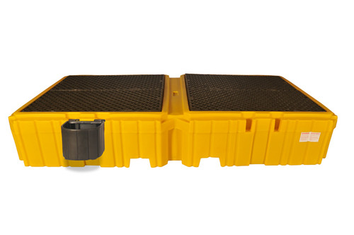 UltraTech Twin IBC Spill Pallet With 1 right side bucket shelf - With Drain. - 1145