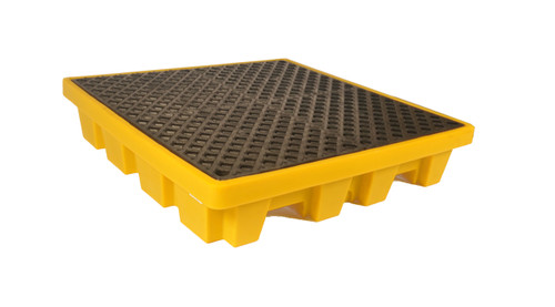 UltraTech Spill Pallet P4 - Nestable Model - With Drain - Yellow - 1231