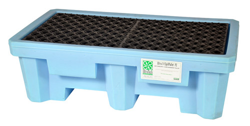 UltraTech Spill Pallet P2 Fluorinated - Light Blue - With Drain - 1213