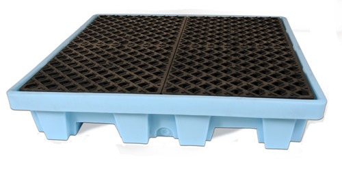UltraTech Spill Pallet P4 Fluorinated - Light Blue - Nestable Model - With Drain - 1232
