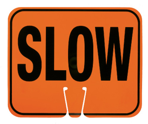 SAFETY CONE SIGNS, SLOW, 10.375 X 12.625
