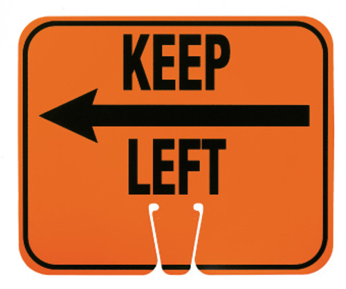SAFETY CONE SIGNS, KEEP LEFT, 10.375 X 12.625