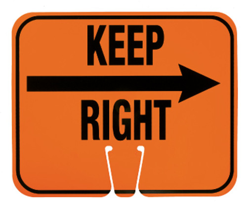 SAFETY CONE SIGNS, KEEP RIGHT, 10.375 X 12.625