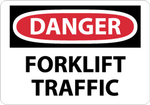 DANGER, FORKLIFT TRAFFIC, 10X14, .040 ALUM