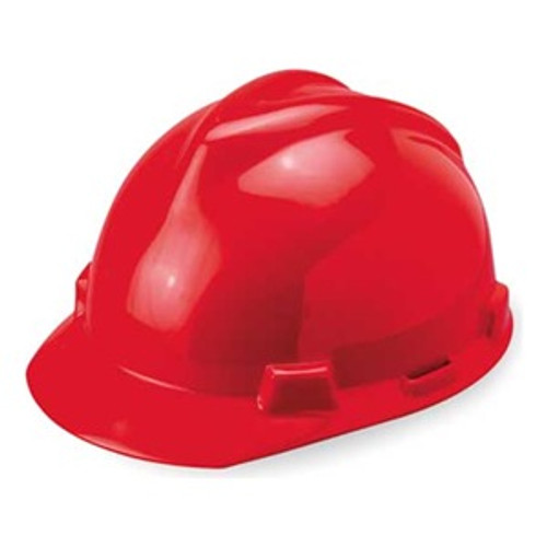 MSA V-Gard Red Ratchet Hard Hat - 475363