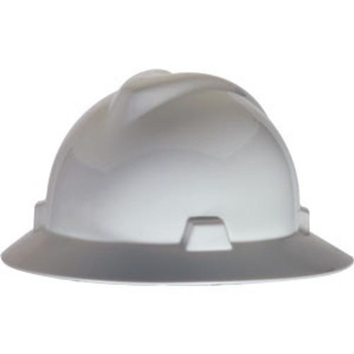 MSA V-Hat Full Brim White Ratchet Hard Hat - 475369