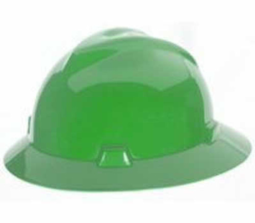MSA V-Hat Full Brim Green Ratchet Hard Hat - 475370
