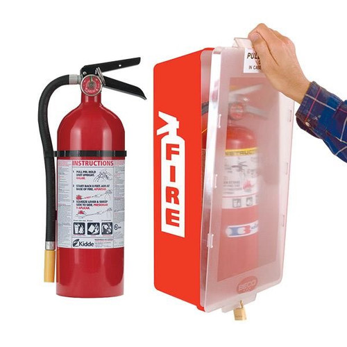 5 lb ABC Pro Line Fire Extinguisher w/ Mark I Jr. Cabinet (Red Tub/Clear Cover)