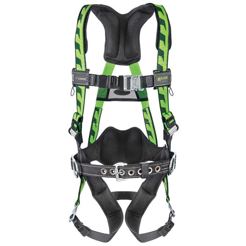 Miller AirCore Steel Hardware Green Harness w/Side D-Rings Lumbar Pad - Belt - Universal (Large/XL) - AC-QC-BDP/UGN