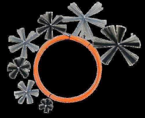 Nikro 66' Orange Jacket Brush Cable System w/7 Brushes - 862534