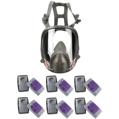 3M 6000 Series Full Face Respirator & 6 Pair 3M 7093 P100 Filter Combo