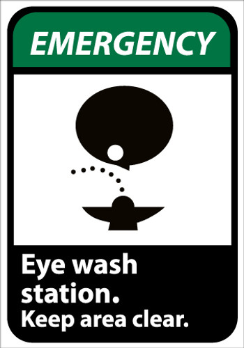 EMERGENCY, EYE WASH STATION KEEP AREA CLEAR (W/GRAPHIC), 10X7, PS VINYL
