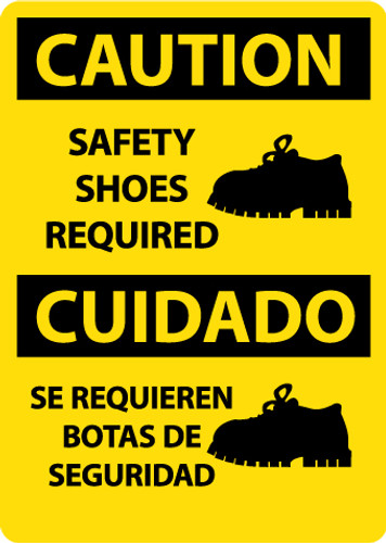 CAUTION, SAFETY SHOES REQUIRED (GRAPHIC), BILINGUAL, 14X10, .040 ALUM