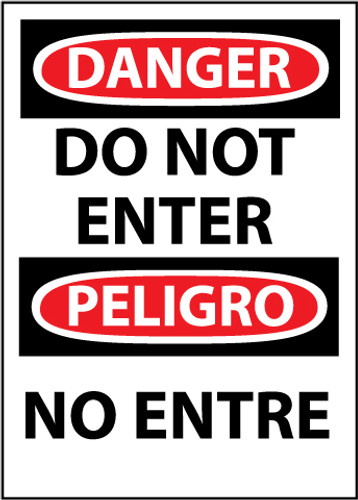 DANGER, DO NOT ENTER BILINGUAL, 14X10, .040 ALUM