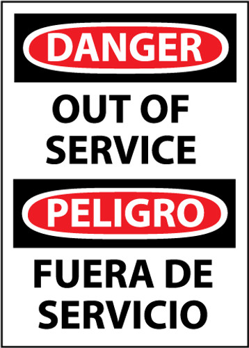 DANGER, OUT OF SERVICE BILINGUAL, 14X10, .040 ALUM