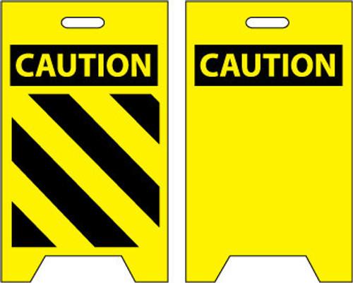 FLOOR SIGN, DBL SIDE, CAUTION (HAZARD STRIPE) CAUTION (BLANK), 20X12