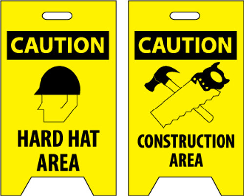 FLOOR SIGN, DBL SIDE, CAUTION HARD HAT AREA CAUTION CONSTRUCTION AREA, 20X12