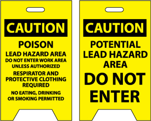 FLOOR SIGN, DBL SIDE, CAUTION POISON LEAD HAZARD AREA. . .CAUTION POTENTIAL LEAD HAZARD.., 20X12