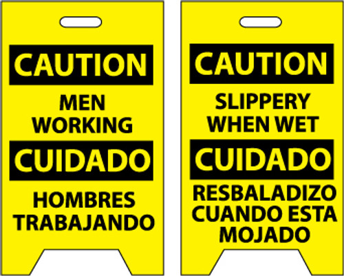 FLOOR SIGN, DBL SIDE, CAUTION MEN WORKING CAUTION SLIPPERY WHEN WET (BILINGUAL), 20X12