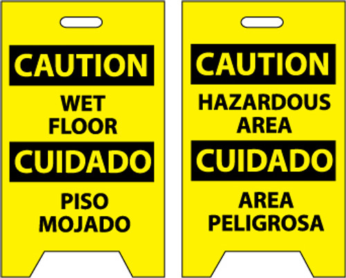 FLOOR SIGN, DBL SIDE, CAUTION WET FLOOR CAUTION HAZARDOUS AREA (BILINGUAL), 20X12