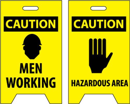 FLOOR SIGN, DBL SIDE, CAUTION MEN WORKING CAUTION HAZARDOUS AREA, 20X12