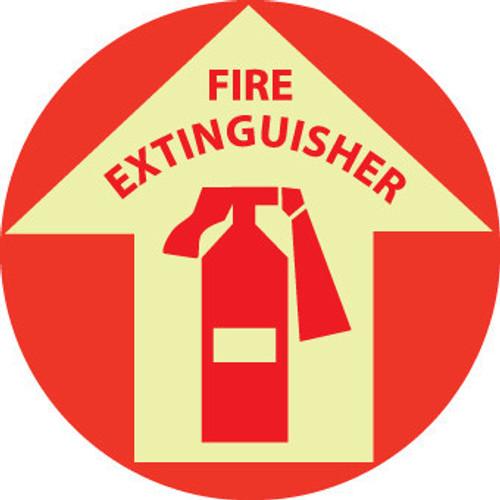 """FLOOR SIGN, GLOW WALK ON, FIRE EXTINGUISHER, 17"""" DIA"""
