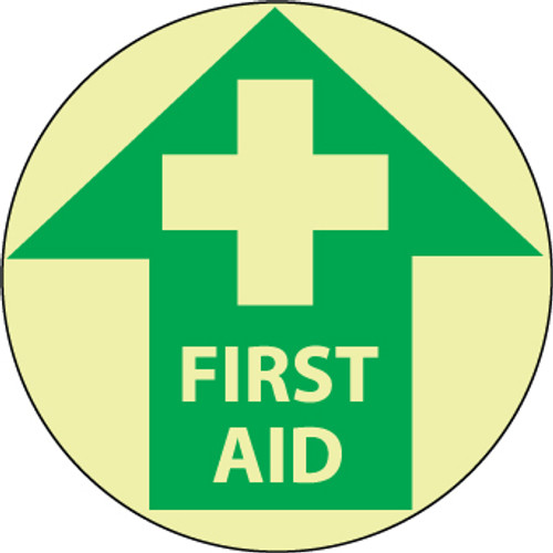 """FLOOR SIGN, GLOW WALK ON, FIRST AID, 17"""" DIA"""