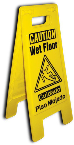 FLOOR SIGN, HEAVY DUTY, CAUTION WET FLOOR, ENGLISH/SPANISH, 24 5/8 X 10 3/4