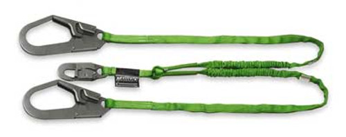 Miller 6 ft. HP Double Leg Lanyard w/1 Snap Hook & 2 Rebar Hooks - 231TWRS-Z7/6FTGN
