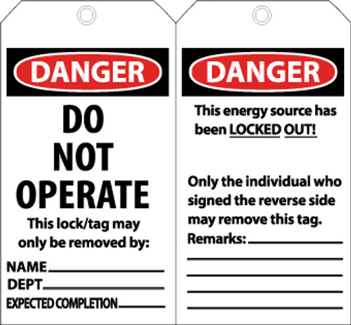TAGS, DANGER DO NOT OPERATE. . ., 6X3, LAMINATED, 25/PK