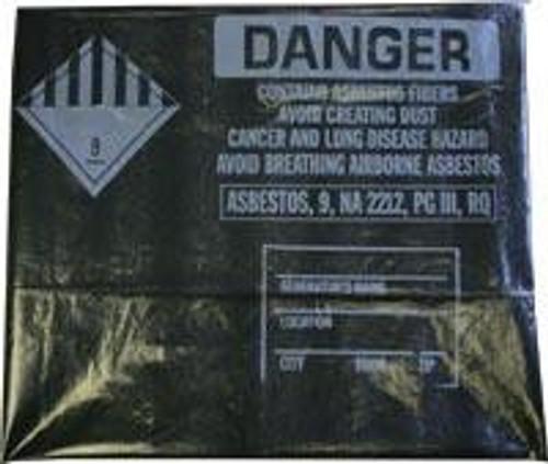 """Black 38""""x60"""" Printed Asbestos Bags 75/roll"""