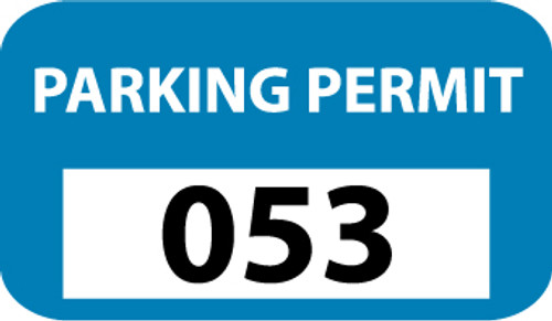 PARKING PERMIT, BUMPER, BLUE, 001-100