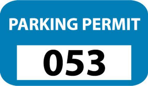 PARKING PERMIT, BUMPER, BLUE, 401-500